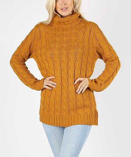 Sbs Fashion Desert Mustard Cable Knit Turtleneck Sweater Women