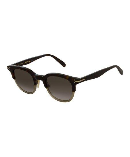 d667eb6b191b Celine Dark Havana & Khaki Square Sunglasses | Zulily