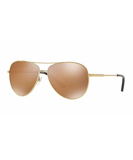 7460f35641d Tory Burch Gold   Brown Mirror Polarized Aviator Sunglasses
