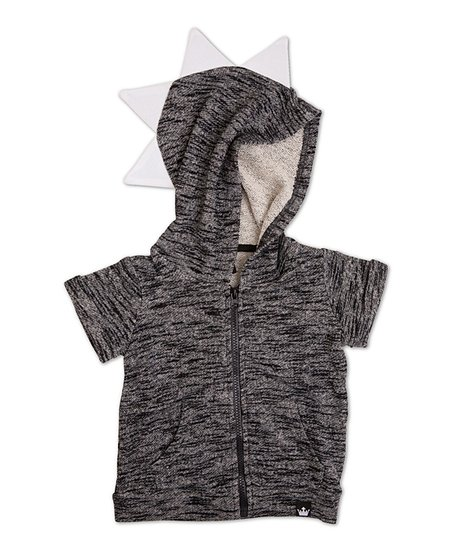 d958654ea Littlest Prince Couture Black French Terry Zip-Up Dino Hoodie ...