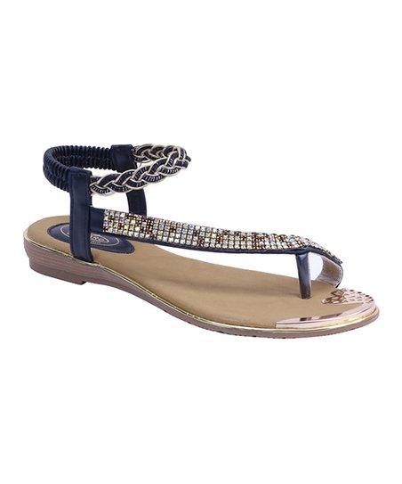 a3083153d Selina Black   Gold Embellished Braided Sandal - Women