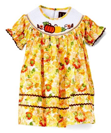 cc99feb5c Lil Cactus Orange Floral   Pumpkins Smocked Bishop Dress - Toddler ...