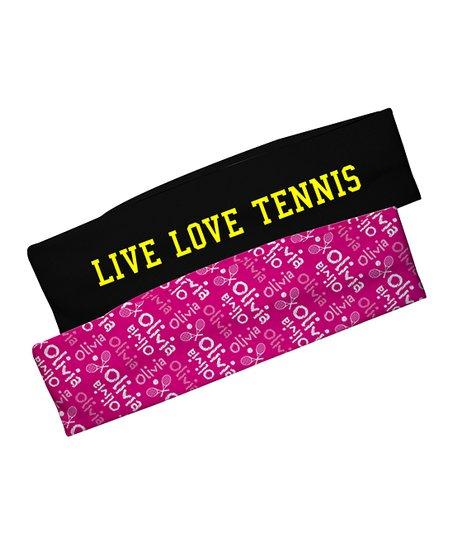 Mondays Child Black Pink Live Love Tennis Personalized Headband