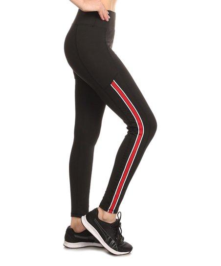 ade3e4e880a76 Pink Mint Black & Red Mesh Stripe Leggings - Women   Zulily