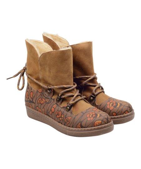 Alaska Light Brown   Orange Floral Sherpa-Lined Waterproof Boot ... 8aa5774577