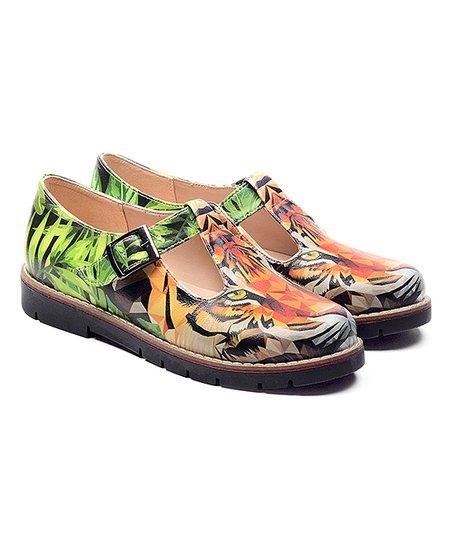 Alaska Orange & Green Tiger Mary Jane - Women