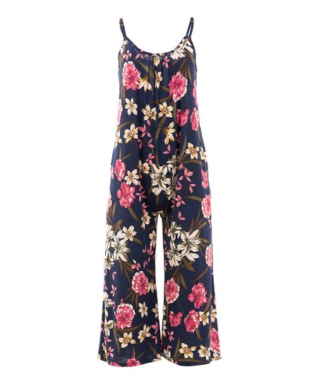 9bba1c7d797 love this product Navy Floral Sleeveless Gaucho Jumpsuit - Women