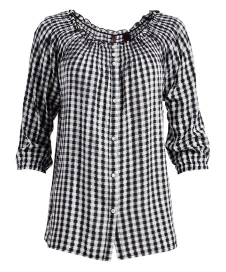 e5c7a186 Skyes the limit Onyx & White Gingham Smocked Button-Up Top - Plus ...