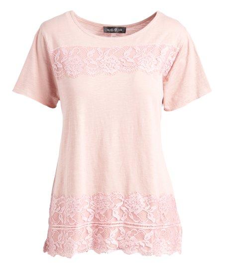 1ab3e2d4cd588 August Silk Light Pink Floral Lace-Trim Scoop Neck Top - Women
