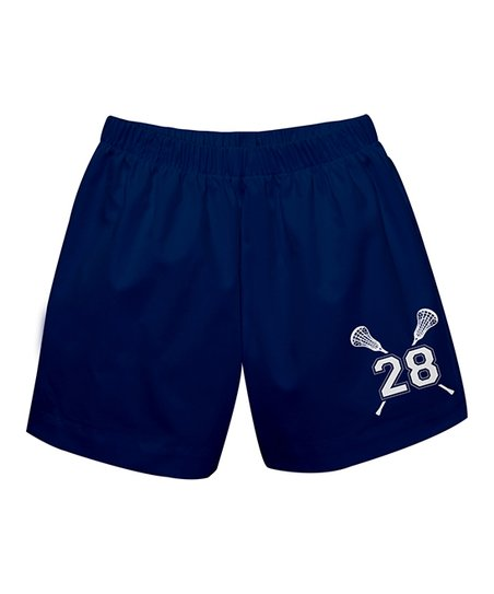 Navy Crossed Lacrosse Sticks Personalized Number Shorts Infant Toddler Boys