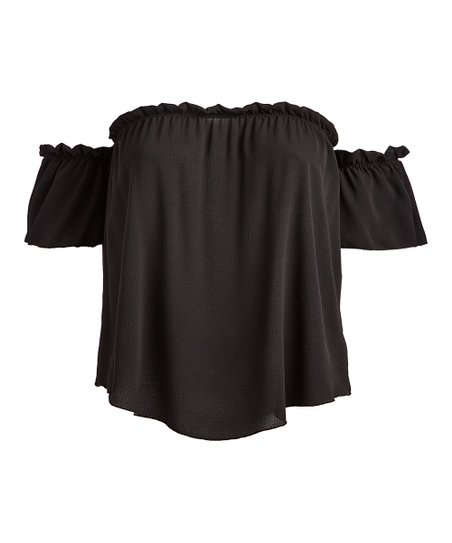 db24279b19ab4 love this product Black Ruffle-Sleeve Off-Shoulder Top - Plus
