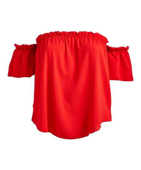 499e70b09b4870 love this product Red Ruffle-Sleeve Off-Shoulder Top - Plus