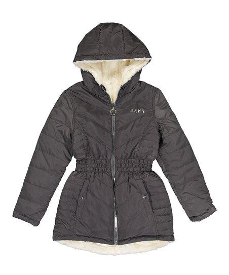 6deb974d0f74 DKNY Gray Sherpa-Lined Puffer Coat - Girls