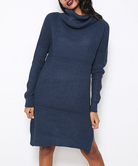 93809caebaf love this product Indigo Side-Slit Ribbed Sweater Dress - Women