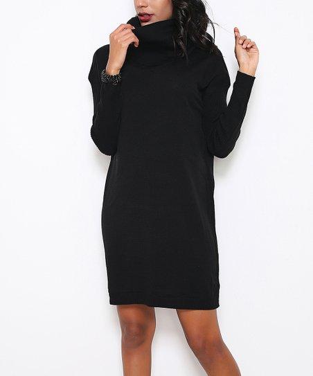 Black Turtleneck Midi Dress