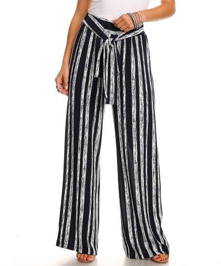 dc33b88dbb love this product Navy & Silver Stripe Wide-Leg Pants - Women