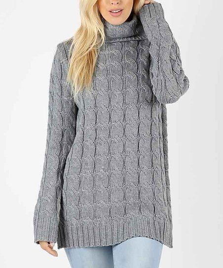 1577cc4143c27 love this product Heather Gray Cable-Knit Turtleneck Sweater - Women