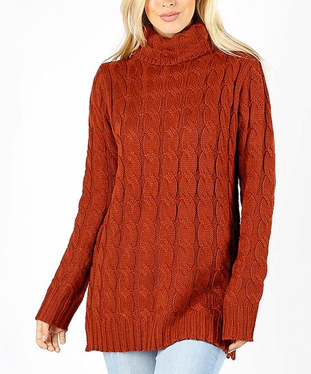 e5491fe7596ec love this product Fired Brick Cable-Knit Turtleneck - Women