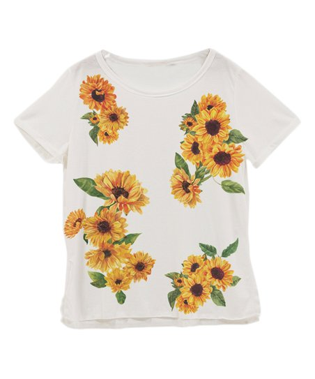 0c8b114b6070 Fashionomics Off-White Floral Tee - Women | Zulily