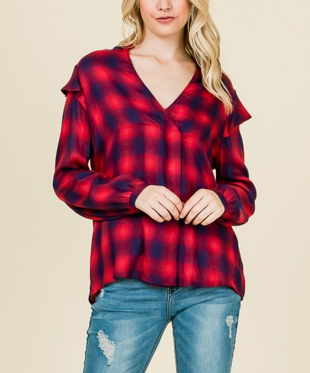 31759a2b78853a love this product Red & Navy Plaid Flutter-Sleeve V-Neck Top - Women
