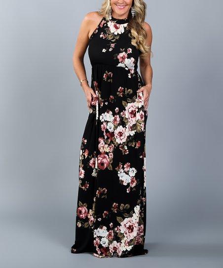 5636d4b12f0 Coco   Main Black Floral Halter Maxi Dress - Women