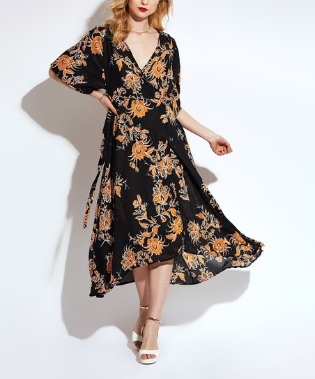 c80631432814 love this product Black Floral Side-Tie Fit   Flare Dress - Women