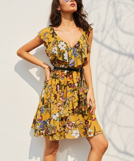 b847013a0f72 love this product Yellow Floral Ruffle Fit   Flare Dress