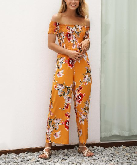 ded844a234d8 love this product Yellow Floral Off-Shoulder Jumpsuit - Women