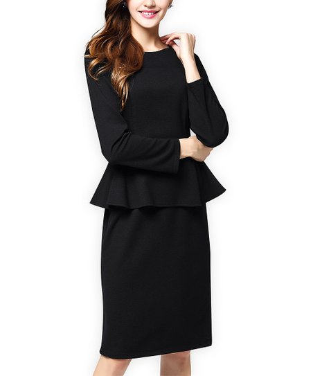 Marina Kaneva Black Peplum Dress Women Zulily