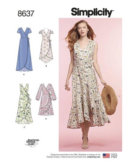 Simplicity Plus Size 8637 Surplice Dress Pattern | Zulily