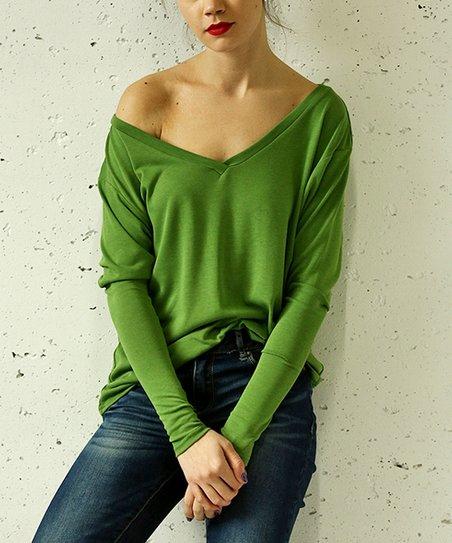 96314233329 Gingier Green Deep V-Neck Sweater - Women