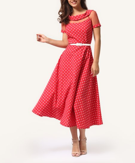 290b48b44cb love this product Red Pin Dot Mesh-Panel Short-Sleeve Fit   Flare Dress -  Women
