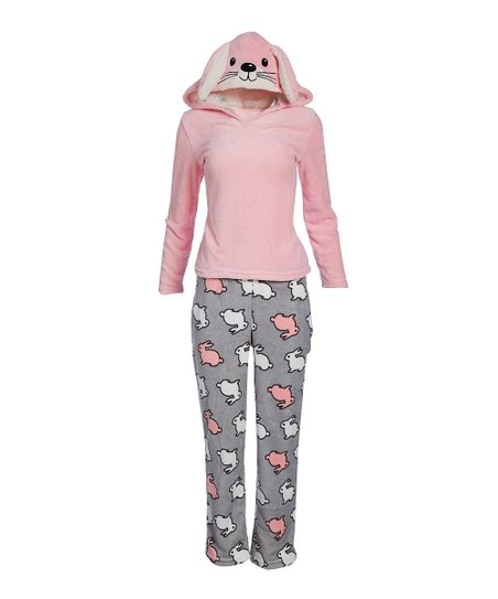 309bae8a1 PJ Couture Light Pink Plush Bunny Hooded Pajama Set - Women | Zulily