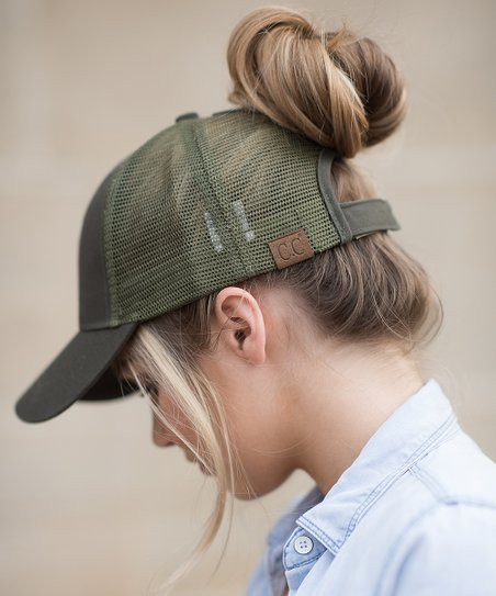 love this product Olive Top Knot Trucker Hat fab131826cd