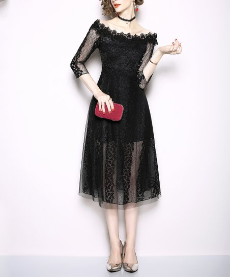Coeur de Vague Black Lace Layered Three-Quarter-Sleeve Dress - Women ... d624bbadd8