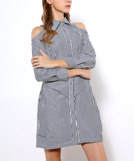 e0f23c802b3a6 love this product Black   White Pinstripe Cold-Shoulder Shirt Dress - Women