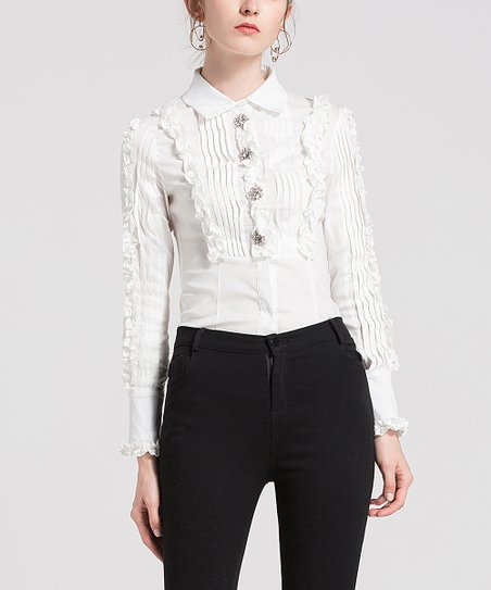 0bc9533934de23 love this product White Pin Tuck Ruffle Blouse - Women
