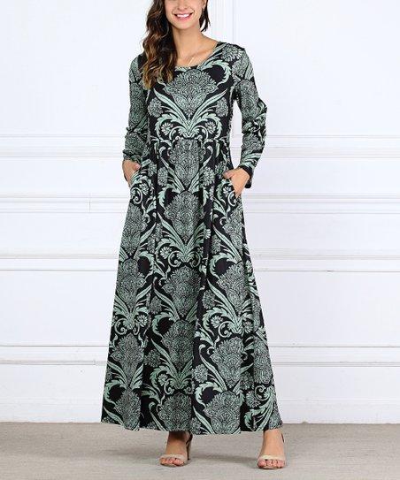 Rb Black Mint Long Sleeve Maxi Dress Plus Zulily
