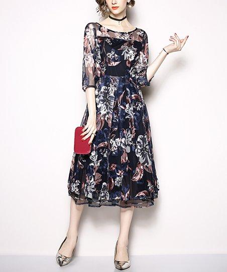 e2ad563b5679 Coeur de Vague Navy Floral Embroidered Midi Dress - Women | Zulily