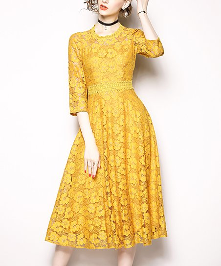 8d118020f359 love this product Yellow Floral Lace Fit   Flare Dress - Women