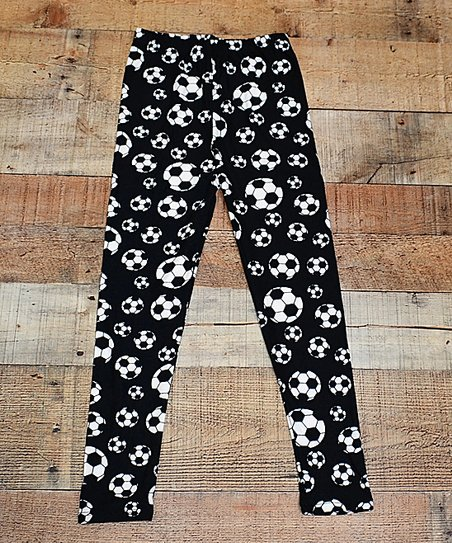 5f0202f87e616 love this product Black & White Soccer Ball Leggings - Toddler & Girls