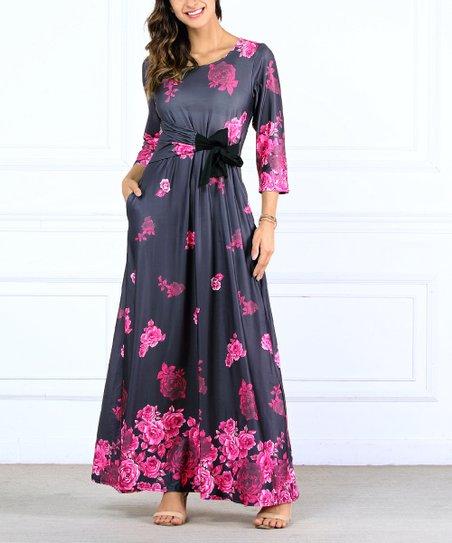 c02749f90 R B Charcoal Fuschia Fl Side Bow Maxi Dress Plus Zulily