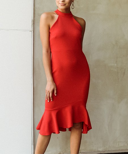 love this product Red Ruffle-Hem Mock Neck Sleeveless Dress - Women   Plus 28ee2f1245