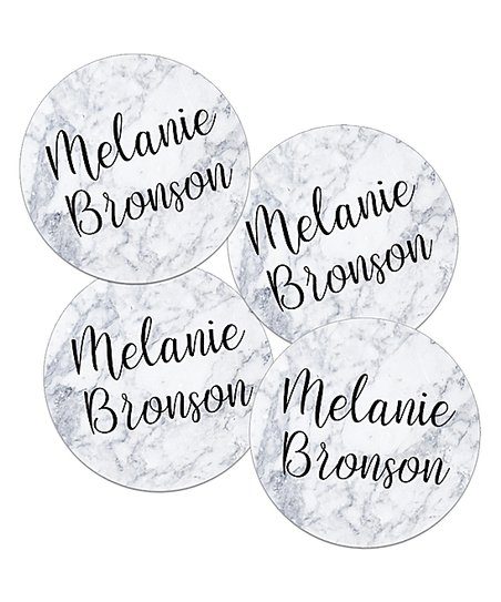 Label Daddy Marble Mini Round Waterproof Personalized Label - Set of 24