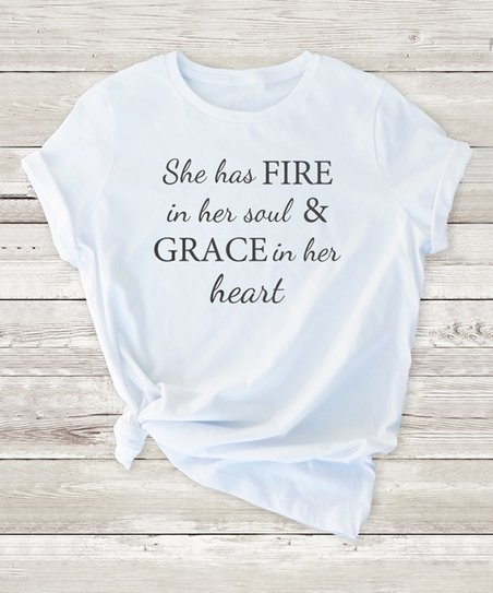 210cc8278 love this product White 'She Has Fire in Her Soul' Crewneck Tee - Juniors