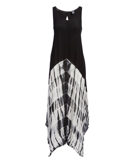 Chelsea Theodore Black White Tie Dye Keyhole Maxi Dress Women