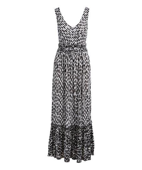 Chelsea Theodore Black White Geometric Ruffle Hem Maxi Dress