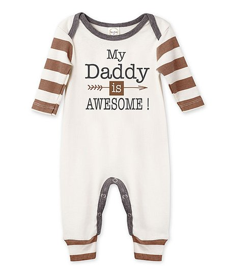 love this product Ivory   Pecan Stripe  My Daddy Is Awesome  Playsuit -  Newborn   Infant 21d22e594f