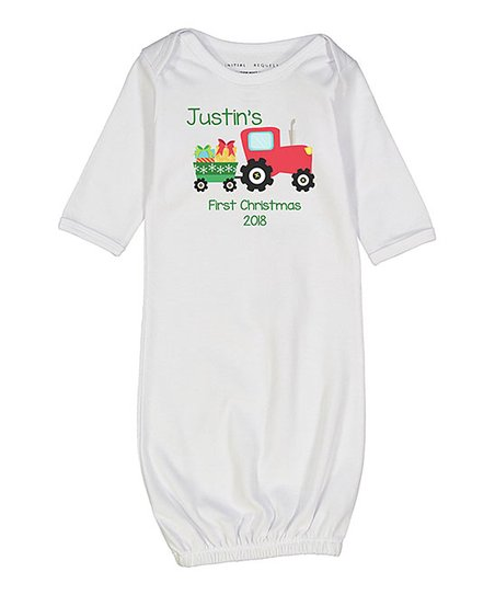 Initial Request White 'First Christmas' Tractor Personalized Gown - Newborn  & Infant