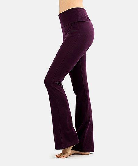 73ea5db4261e9 Active USA Dark Plum Fold-Over Yoga Pants - Women | Zulily